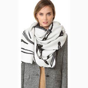 Rag and Bone white multi oversize dagger scarf